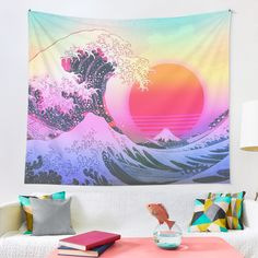 Tapestry Bedroom, Tapestry Wall Hanging, Great Wave Off Kanagawa, Inspirational Wall Art, Retro Aesthetic, Vaporwave, Wall Prints, Photo Wall Art, Tapestries