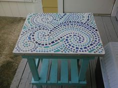 Mosaic tile and sea glass on a thrift store table