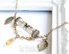 Steampunk Butterfly Necklace Orange, Leaf Charm Necklace, Steampunk Gears and cogs Necklace, Fantasy Necklace, Boho, Insect Necklace, Oddity by LaTaniaJewelry on Etsy