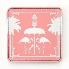 Raising the Bar: Emily McCarthy Flamingo Bamboo Faux Leather Coaster Set | $20 for a set of four