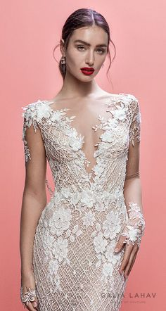 galia lahav spring 2019 bridal long sleeves deep v neck full embellishment elegant fit and flare wedding dress cowl back sweep train (rhainnon) zv