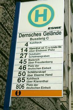 Bus stop sign in Wiesbaden, Germany