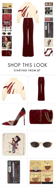 """Cropped sweater"" by doga1 ❤ liked on Polyvore featuring Vika Gazinskaya, Vanessa Bruno, Gianvito Rossi, Yves Saint Laurent, Avenida Home, Moschino, Borghese and Nannette de Gaspé"