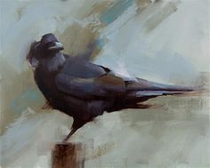 """Daily Paintworks - """"Raven"""" - Original Fine Art for Sale - © Thorgrimur Andri Einarsson Media: Oil on linen Size: 8x10 in"""