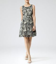 Womens St Louis Black Palm Print Dress - Reiss Daria
