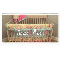 Baby Girl Crib Bedding Pink Aqua Kumari Garden Sujata Rail Guard Set by MamaMadeBabyBedding on Etsy