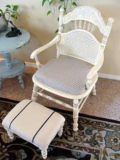 white cane-back chair and faux grainsack foot stool