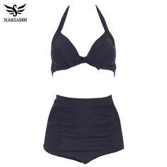 f745282e9c377 NAKIAEOI 60S Unique Retro Bikinis High Waist Swimsuit Push Up Swimwear Women  Plus Size Bathing Suits Printed Floral Bikini Set