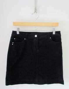 White House Black Market Black Velvet Mini Skirt Size 0 Womens Stretch Jewel #WhiteHouseBlackMarket #Mini