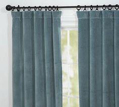 Blue velvet drapes | Dining Room