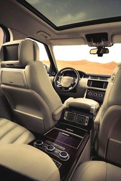 2013 Range Rover interior..   Just perfect!!  I'm in the car all day running kids around...this will be wonderful! :)