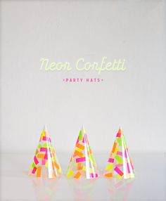 DIY Neon Confetti Party Hats