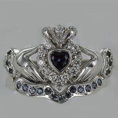 Irish Wedding Rings, Wedding Ring Sets Unique, Bridal Ring Sets, Wedding Band Sets, Bridal Rings, Irish Jewelry, Fine Jewelry, Art Nouveau, Silver Claddagh Ring