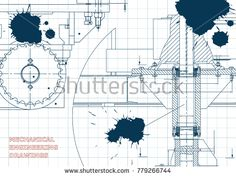 Blueprints. Engineering backgrounds. Mechanical engineering drawings. Cover. Banner. Technical Design. Draft. Ink. Blots #bubushonok #art #bubushonokart #design #vector #shutterstock #technical #engineering #drawing #blueprint  #technology #mechanism #draw #industry #construction #cad