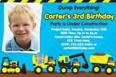 Tonka Dump Truck Construction Zone Birthday Party Photo Invitation - Digital File
