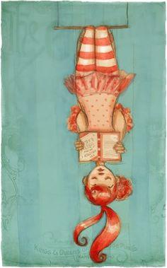 Reading Hanging / Colgando la lectura  - ilustración de Abigail Halpin    (I used to do this...)