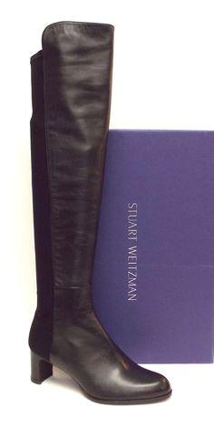 STUART WEITZMAN Black 5050 Mid Heel OTK Boots 37