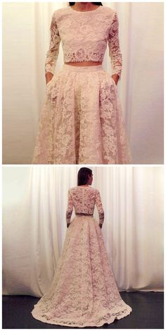 Two Piec Lace Prom Dress,Long Sleeve Prom Dresses,Evening