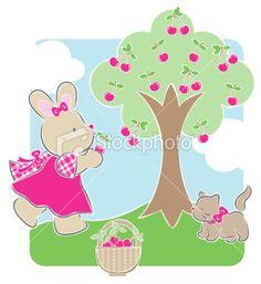 cherry picking Royalty Free Stock Vector Art Illustration