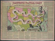 Illustrated political chart, a cartoon of American politics and the Tapeworm Party (1888) | Vintage Public Domain Pictures