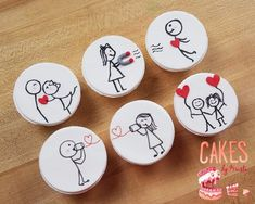 Stick Figure Love Cupcake Toppers MADE TO ORDER by CakesByKristi Valentines Day Cookies, Valentine Cookies, Christmas Cookies, Cookie Icing, Royal Icing Cookies, Love Cupcakes, Love Cake, Iced Cookies, Cupcake Cookies