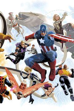 Captain America and Avengers Marvel Dc Comics, Marvel Avengers, Avengers 2012, Marvel Heroes, Comic Book Characters, Comic Book Heroes, Marvel Characters, Comic Character, Comic Books Art