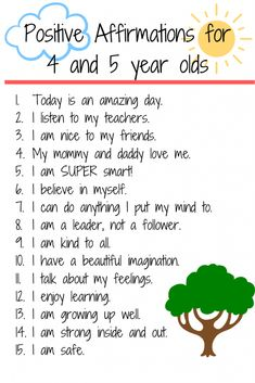 15 Positive Affirmations for Preschool/ Kindergarten - Encourage your children and build self esteem with daily affirmations. Positive Affirmations For Kids, Daily Affirmations, Positive Quotes, Affirmations Positives, Gratitude Quotes, Kids And Parenting, Parenting Hacks, Gentle Parenting, Teaching Kids