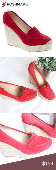 """J. Crew Red Altuzarra Corrine espadrilles A French spin on J.Crew classics, our exclusive capsule collection created in collaboration with Joseph Altuzarra. With a nod to the chic footwear of Saint-Tropez femmes, the Paris-born designer topped off an espadrille platform sole with a suede loafer in saturated shades.  Suede upper.  Leather lining and sole.  4 1/2"""" jute-covered heel w/ exterior platform for extra comfort.  Made in Italy. Retail $345 + tax. Inner label marked thru In excellent…"""