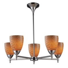 Celina 5 Light Chandelier In Polished Chrome And Cocoa Glass