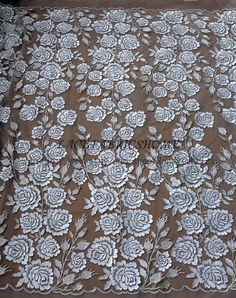 Off white mixed colours 3D flowers on net by Randyfabrics on Etsy