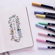 Find inspiration for your Spring Bullet Journal setups with these theme ideas. Bullet Journal Cover Page, Bullet Journal Notebook, Bullet Journal 2019, Bullet Journal Ideas Pages, Bullet Journal Spread, Bullet Journal Layout, My Journal, Bullet Journal Inspiration, Journal Pages