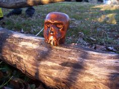 Hand carved wood skull by SpiralHawkStudio on Etsy, $5.00