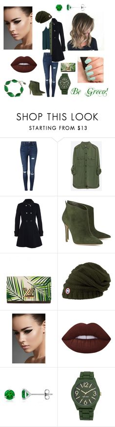 """Happy Day of Green!"" by delisletessa ❤ liked on Polyvore featuring Miss Selfridge, Zara, Gianvito Rossi, Louis Vuitton, Canada Goose, NARS Cosmetics, Lime Crime and Nine West"