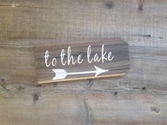 Lake Sign. Wood lake sign, to the lake sign, lake house decor, lake house signs,  lake decor, lake arrow sign, outdoor lake sign, arrow sign by LoveTheJunk on Etsy