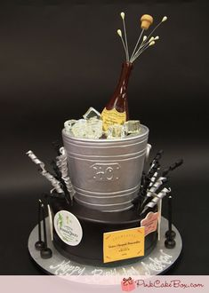 Champagne Silver Bucket Cake by Pink Cake Box in Denville, NJ.  More photos at http://blog.pinkcakebox.com/champagne-silver-bucket-cake-2012-02-12.htm  #cakes