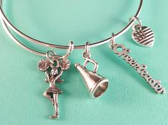 Cheerleading Charm Bangle Bracelet