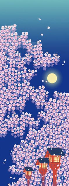 Japanese Tenugui Cotton Fabric Cherry Blossom от JapanLovelyCrafts