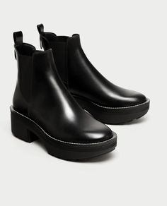 096e8fe77f8 ZARA - WOMAN - FLAT LEATHER ANKLE BOOTS WITH TRACK SOLE High Heel Boots