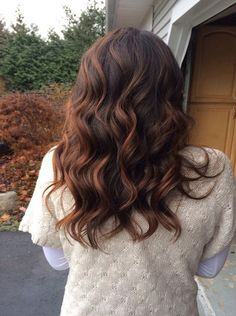 Long light auburn on dark brown hair color ideas for Autumn/winter 2016 - 2017