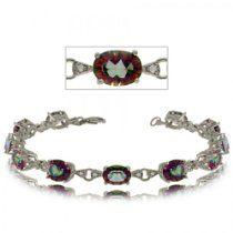 Green Radiant Shape Mystic Topaz and Diamond Bracelet in Sterling Silver