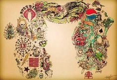 CM Punk's tattoos!  It's so cool to see them all spread out like this.