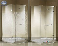 Clear glass shower enclosure vs. with sandblasted patterns.. Which one do you prefer?