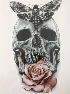 Beautiful skull with moth and PINK FLOWER by almasjewelryart