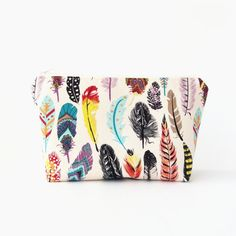 Cosmetic bag Boho cosmetic pouch Travel makeup by greylittlemouse