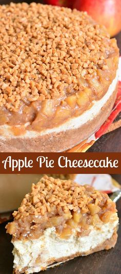 Beautiful marriage between apple pie and cheesecake in an amazing dessert. Silky, creamy cheesecake flavored with cinnamon and topped with homemade apple pie filling and some toffee crunch pieces. Köstliche Desserts, Holiday Desserts, Delicious Desserts, Desserts With Apples, Amazing Dessert Recipes, Health Desserts, Food Cakes, Cupcake Cakes, Muffin Cupcake