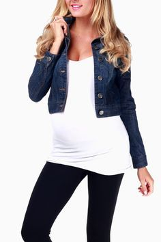 Dark Denim Maternity Jacket @catherine gruntman gruntman gruntman Doyle Maternity the denim jacket to take the maxi from spring/summer to fall! | Look around! find more women fashion on www.misspool.com