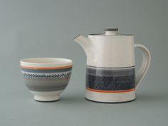 decorated tea bowl and teapot by James and Tilla Waters