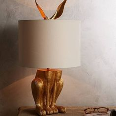 Gilded Hare Lamp Ensemble, Home Accessories, Slide View: Gilded Hare Lamp Ensemble. Deco Luminaire, Unique Lamps, Unique Lighting, Cool Lamps, Lighting Ideas, Decorative Lighting, Kids Lighting, Deco Design, Design Art