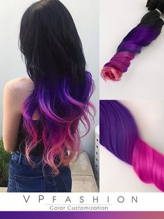Black to Purple Pink Colorful Ombre Indian Remy Clip In Hair Extensions