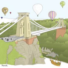 Greetings card showing one of Dona's hand-drawn Bristol landmark drawings of the Clifton Suspension Bridge, featuring hot air balloon Art Activities For Kids, Art For Kids, Bristol Shopping, Bridge Drawing, Water Under The Bridge, Gloucester Road, Toys Logo, Suspension Bridge, Vintage Travel Posters